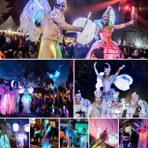 Spectacle de rue lumineux cirque indigo avec échassier lumineux