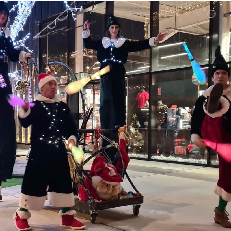 echassiers et jongleurs lutins lumineux Noel